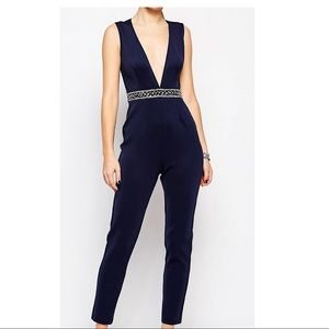 ASOS embellished Navy jumpsuit with deep plunge